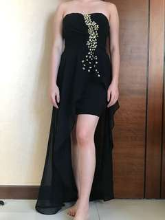 Slit evening gown black