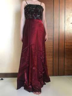 Evening gown maroon simple