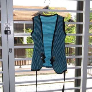 Turquoise Vest with Stripes
