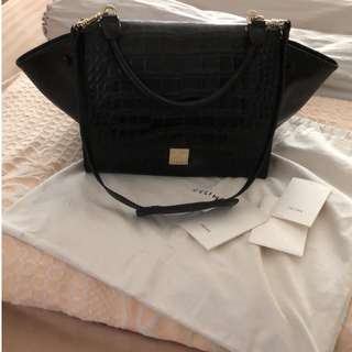 SOLD! Limited Edition Black Crocodile Embossed Trapeze Bag with Gold Hardware NA