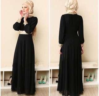 Black/Gold Maxi Dress