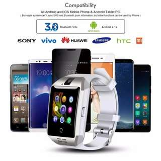 Q18 Passometer Smart Watches with Touch Screen Camera TF Card for Android IOS for Men and Women
