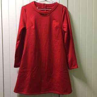 🚚 紅色長袖洋裝-全新
