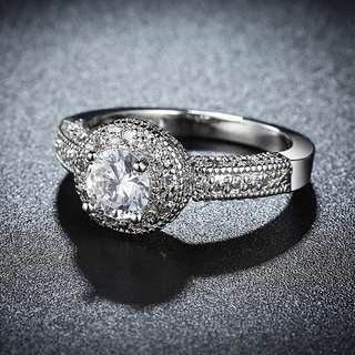 Silver Plated White Gold Platinum Zircon, Crystal Ring