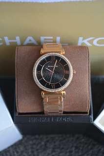 Michael Kors Catlin Black Dial Rosegold-Tone Ladies Watch (MK3356)