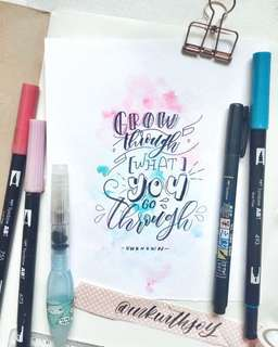 Customisable Calligraphy Card with background watercolour