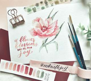 Detailed watercolour floral + customisable quote