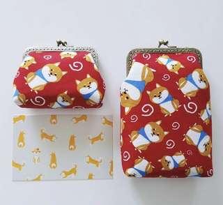 柴犬君手工縫製散紙包化妝袋日本印花小號