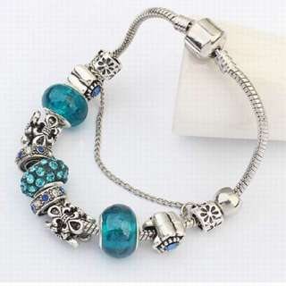 European Fashion - Turquoise Green Blue Charm Beaded Bracelet