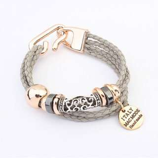 European Multilayer Braided Twist Charm Bracelet