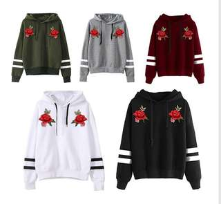 Roses Embroidery Hoodies