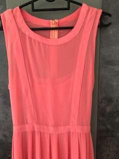 Salmon pink maxi dress