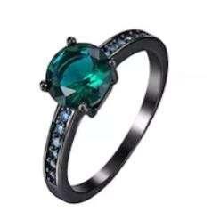 Green Zircon Ring (18K Gold Plated Black Ring)