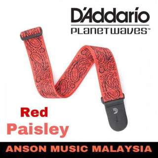 D'Addario Planet Waves Paisley Guitar Strap, Red