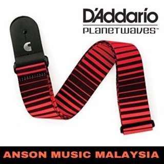 D'Addario Planet Waves Optical Stripes Art Guitar Strap, Red