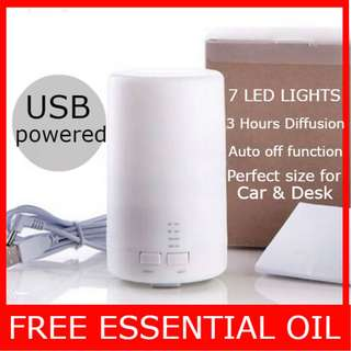 BEST Car & Desk accessory MUJI USB DIFFUSER. 7 LED Lights. Free Essential Oil. Aroma Humidifier.