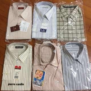 高級襯衫6件👔(皮爾卡登+ever smile+范倫鐵諾size16半,40,M