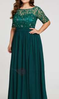 Beaded A line plus evening dress size US14