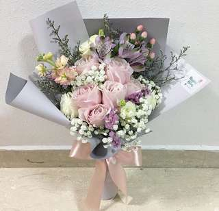Sweet Dainty Bouquet of Light pink roses , baby breath and pastel flowers