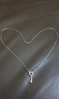 Silver Necklace with Love Key