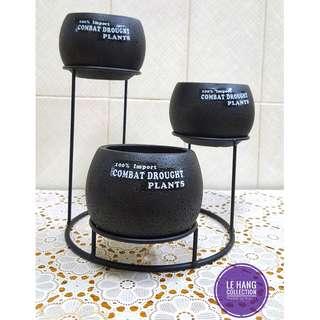 1 Set Modern Black Ceramic Flowerpot