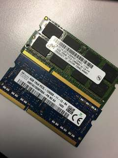 8 gb total 4gbx2 pieces ddr3 laptop ram @ 90$ only