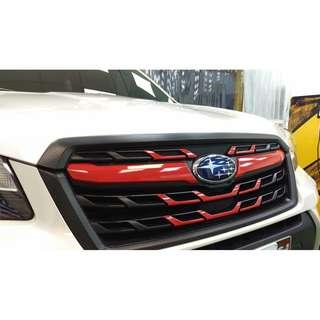 【騰信車體包膜】 Subaru Forester水箱護罩3M1080金屬碳纖維搭配亮紅包膜