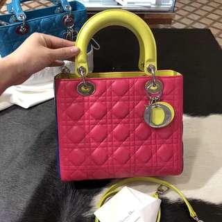 真品 不陪验!!95新 Dior 戴妃5格!!拼色!!很新!