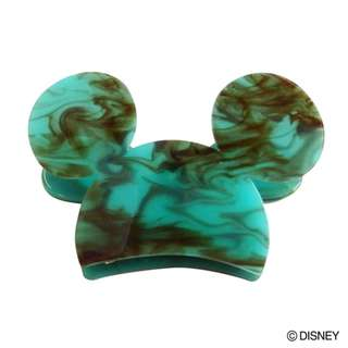 Japan Disney Accommode Mickey Mouse Turquoise Acrylic Hair Clip