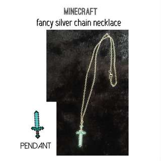 Minecraft fancy Silver Necklace