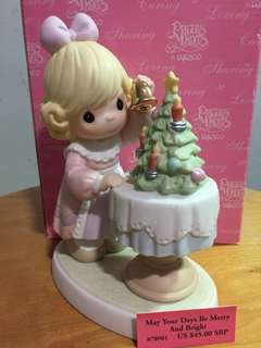 Buy 3 Get 1 Free : Precious Moments Girl with Xmas Tree Figurine: May Your Days be Merry and Bright