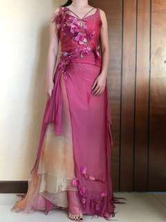 Evening gown furry by designer