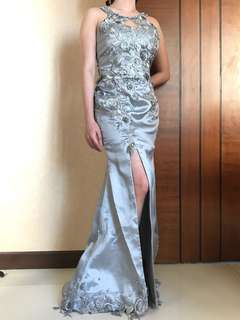 Evening gown silver by designer