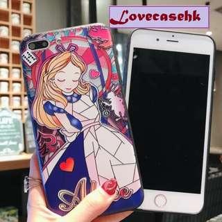 手機殼IPhone6/7/8/plus/X : 愛麗絲電鍍鍵全包黑邊軟殼