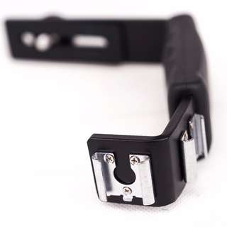 Dual Hotshoe L-shaped Flash Bracket w Grip