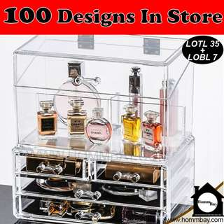 Jewellery Jewelry Organiser Organizer Clear Acrylic Transparent Make Up Makeup Cosmetic Drawer Storage Box Holder (LOTL35 + LOBL7)