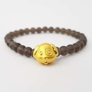 SALE! 999 Gold Dog With Grey Beads - S 6MM