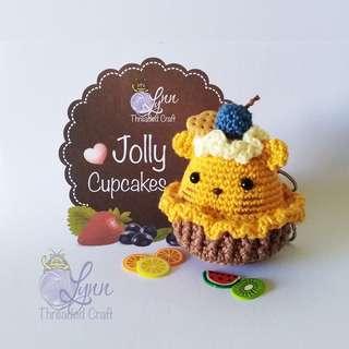 Kitty Jolly Cupcake Key Chain Crochet Amigurumi Yellow