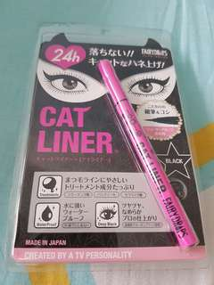 Cat eye liner black free face powder duo
