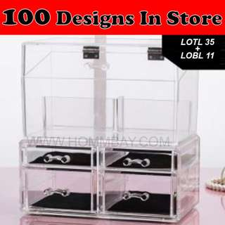 Clear Acrylic Transparent Make Up Makeup Cosmetic Jewellery Jewelry Organiser Organizer Drawer Storage Box Holder (LOTL35 + LOBL11)