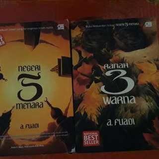 Buku novel negeri 5 menara dan ranah 3 warna a.fuadi