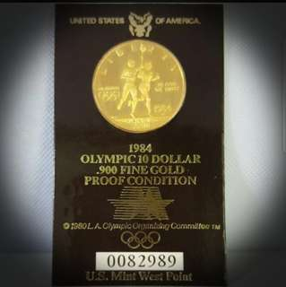 USA1984 Olympic 10 Dollar Gold Proof Coin