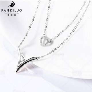 S925 Silver V-Shaped & Heart Pendant Necklace