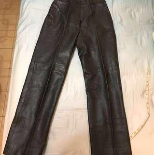 法國26吋真皮黑色皮褲 有內膽