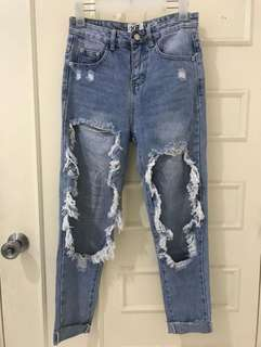 Super Distressed Mom Jeans
