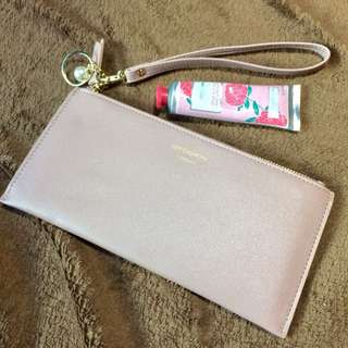 Handmade pink wallet with handle