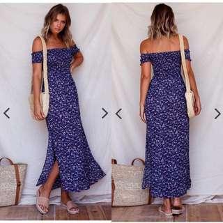Off Smocked Slit Long Dress