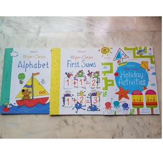 3 Usborne Wipe Clean books (Alphabet, First Sums, Holiday Activities)
