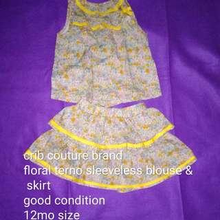Crib couture terno top & skirt