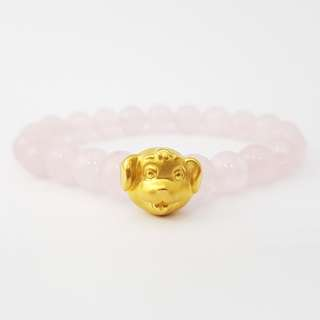 SALE! 999 Gold Dog With Pink Beads - M 8MM